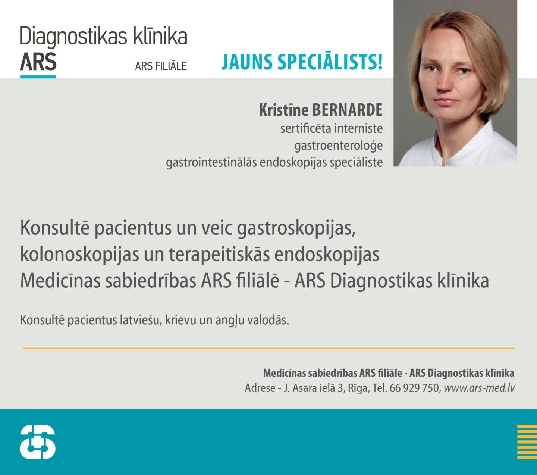 Jauns endoskopijas speciāliste Dr. Kristīne BERNARDE