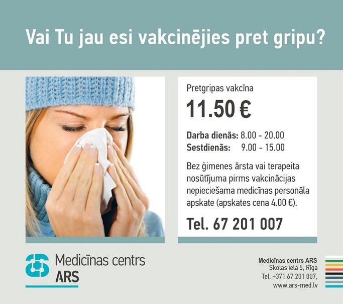 Atgādinām, pret gripu ir iespējams vakcinēties!