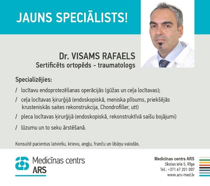 Jauns speciālists – sertificēts traumatologs ortopēds Dr. Visams RAFAELS