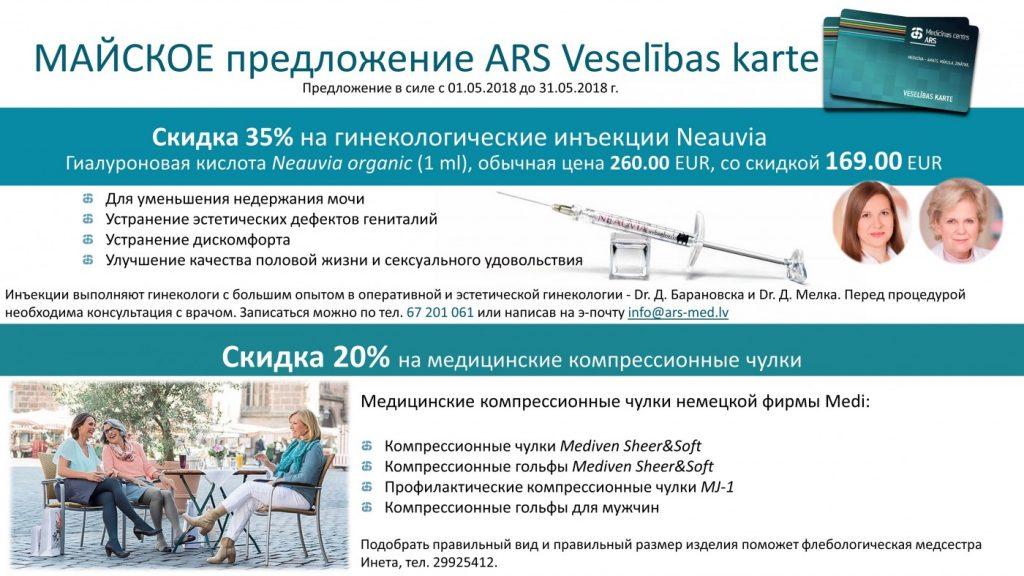 Предложение ARS Veselības karte в мае