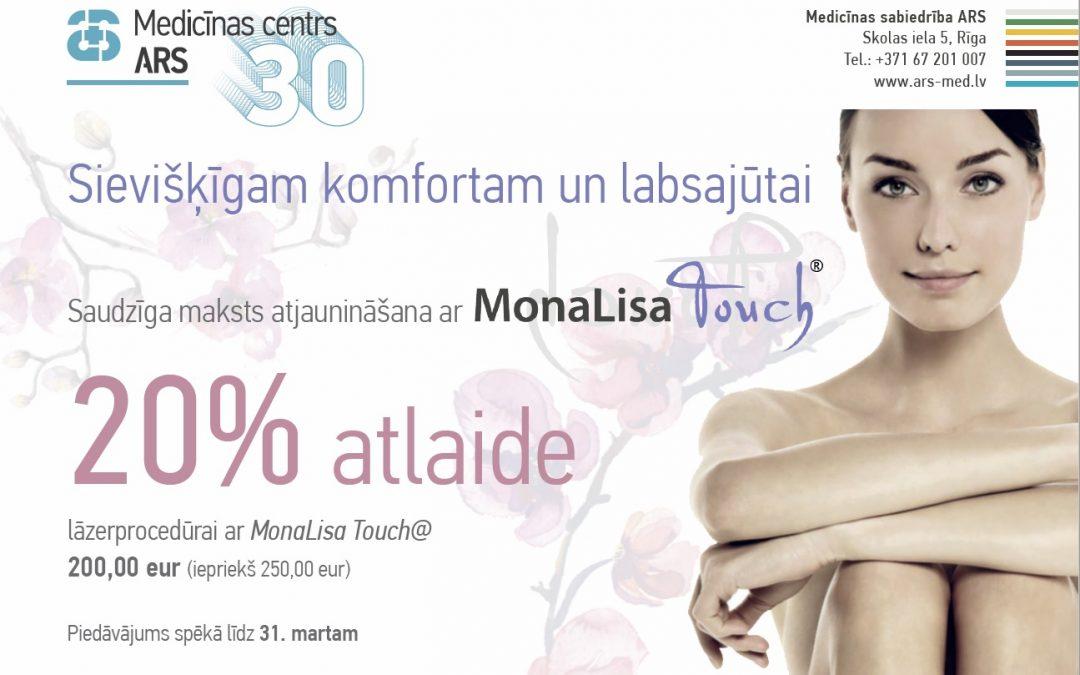 20% atlaide lāzerprocedūrām ar MonaLisa Touch® – sievišķīgam komfortam un labsajūtai